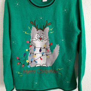 Ugly Christmas sweater cat reindeer